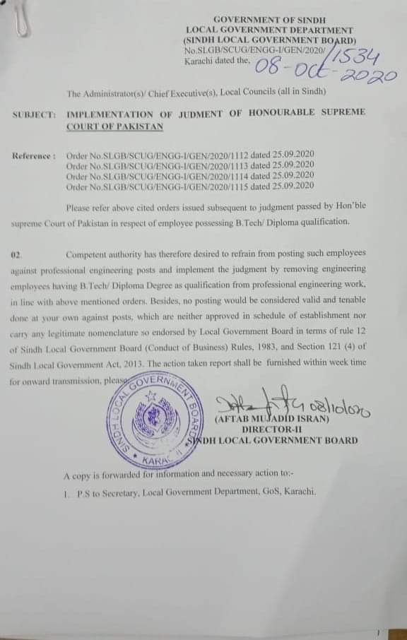 Implementation of Judgment of Honorable Supreme Court of Pakistan | Government of Sindh Local Government Department (Sindh Local Government Board) | October 08, 2020 - allpaknotifications.com
