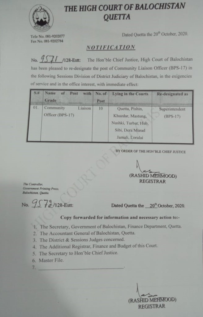 Notification | Re-designating of the post of Community Liaison Officer (BPS-17) | The High Court of Balochistan Quetta | October 20, 2020 - allpaknotifications.com