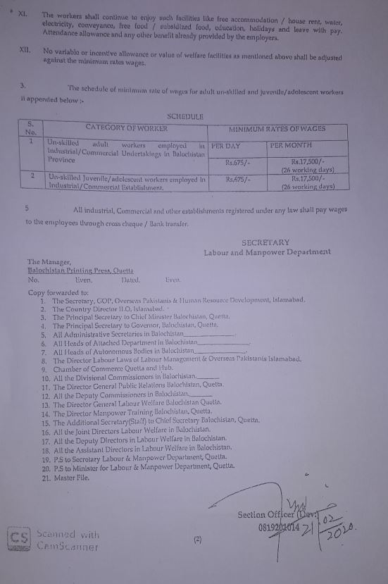 Notification   Minimum Rates of Wages for Unskilled Adult and Juvenile / Adolescent Workers   Government of Balochistan Labor and Manpower Department   February 21, 2020 - allpaknotifications.com