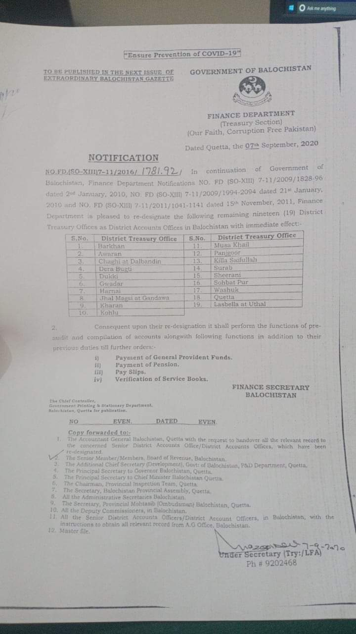 Notification | Re-designation of Nineteen (19) District Treasury Offices as District Accounts Offices in Balochistan | Government of Balochistan Finance Department (Treasury Section) | September 07, 2020 - allpaknotifications.com