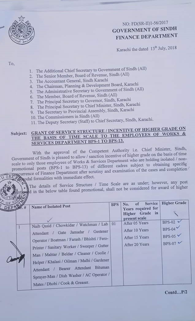 Grant of Service Structure/Incentive of Higher Grade on the Basis of Time Scale to the Employees of Works and Services Department BPS-1 to BPS-13 | Government of Sindh Finance Department | July 13, 2018 - allpaknotifications.com