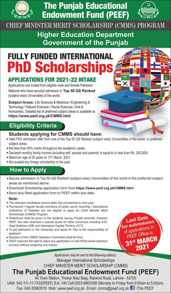 PEEF - The Punjab Educational Endowment Fund (PEEF) - allpaknotifications.com