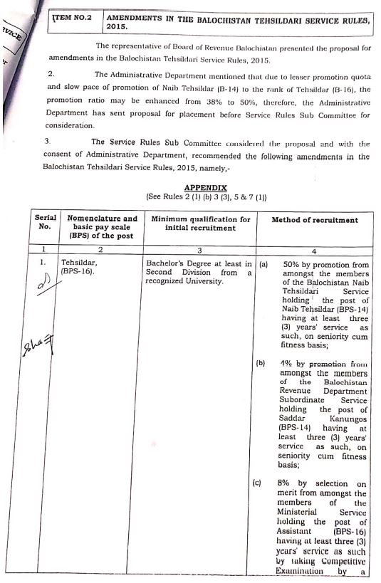 Amendments in the Balochistan Tehsildari Service Rules 2015 | Government of Balochistan Service and General Administration Department (Regulations Section - II) - allpaknotifications.com
