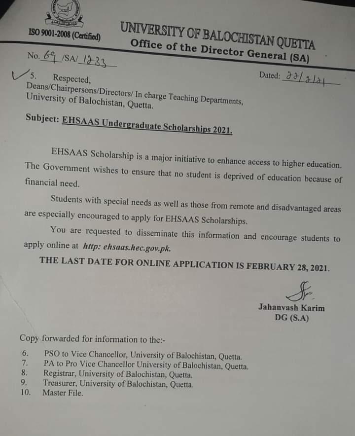 Ehsaas Undergraduate Scholarship 2021 | University of Balochistan Quetta Office of the Director General (SA) | February 22, 2021 - allpaknotifications.com