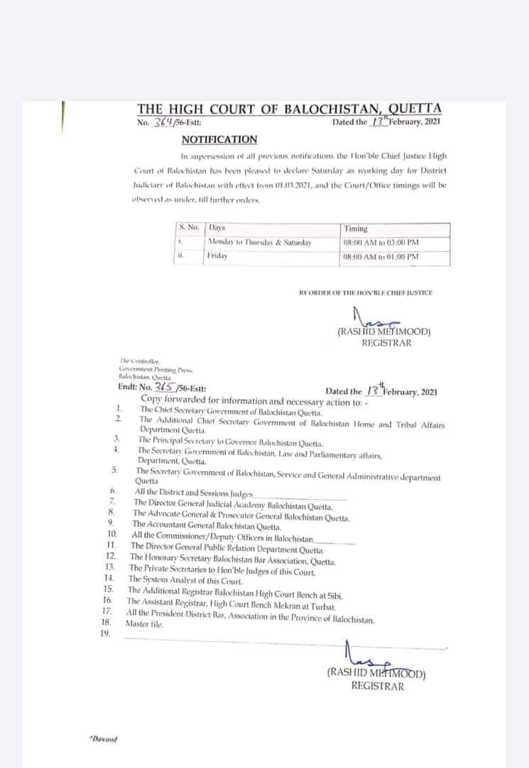 Notification | Saturday as Working Day for District Judiciary | The High Court of Balochistan Quetta | February 13, 2021 - allpaknotifications.com