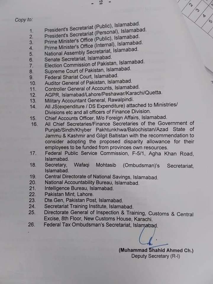 Office Memorandum | Grant of Disparity Reduction Allowance | Government of Pakistan Finance Division (Regulation Wing) | March 03, 2021 - allpaknotifications.com