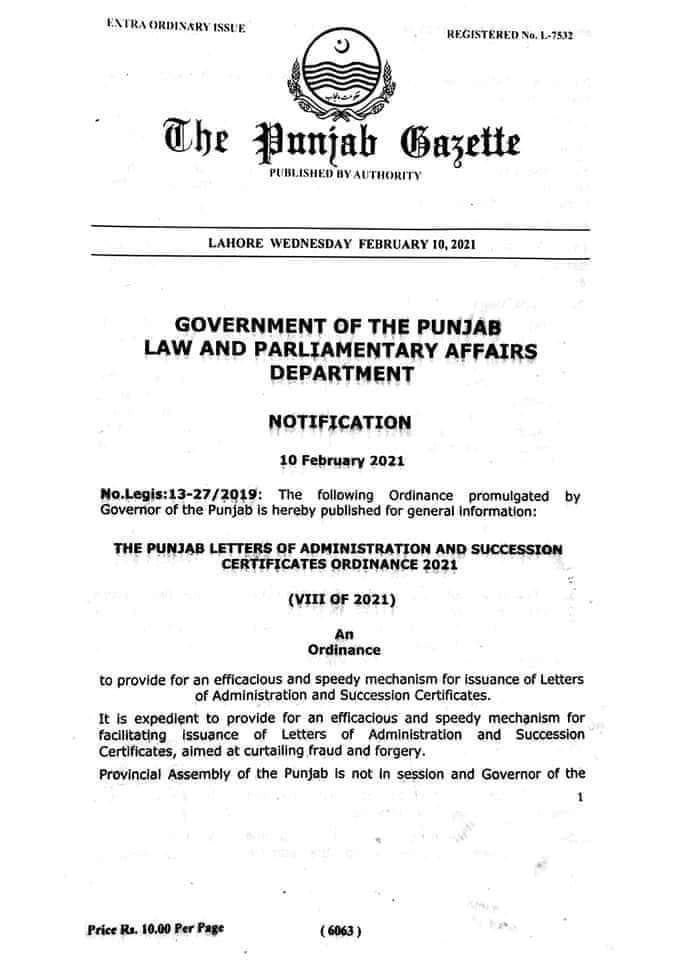 Notification | The Punjab Letters of Administration and Succession Certificates Ordinance 2021 | The Punjab Gazette | Government of the Punjab Law and Parliamentary Affairs Department | February 10, 2021 - allpaknotifications.com