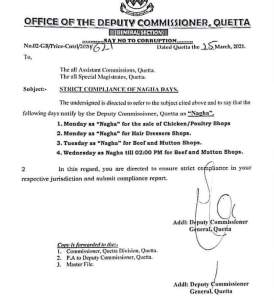 Strict Compliance of Nagha Days | Office of the Deputy Commissioner Quetta | March 25, 2021 - allpaknotifications.com