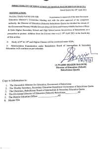 Notification   Closure of the Government Primary-Middle Schools (Boys & Girls) and Primary-Middle Sections of Boys & Girls Higher Secondary School and High School   Directorate of Education (Schools) Balochistan Quetta   April 18, 2021 - allpaknotifications.com