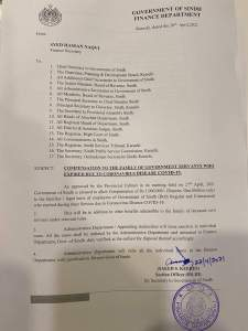 Compensation to the Family of Government Servants who Expired due to Coronavirus Disease Covid-19 | Government of Sindh Finance Department | April 28, 2021 - allpaknotifications.com