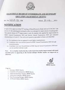 Notification | Allowing for Marks/Grades Improvement in HSSC Annual Examinations and Special Annual Examination 2020 | Balochistan Board of Intermediate and Secondary Education Balochistan Quetta | April 21, 2021 - allpaknotifications.com