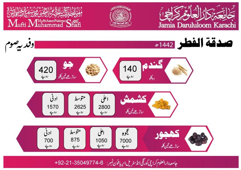 Sadqa Eid-ul-Fitr (1442) 2021 | Jamia Darululoom Karachi | Mufti Muhammad Shafi (RA) - Mufti Azam Pakistan - allpaknotifications.com