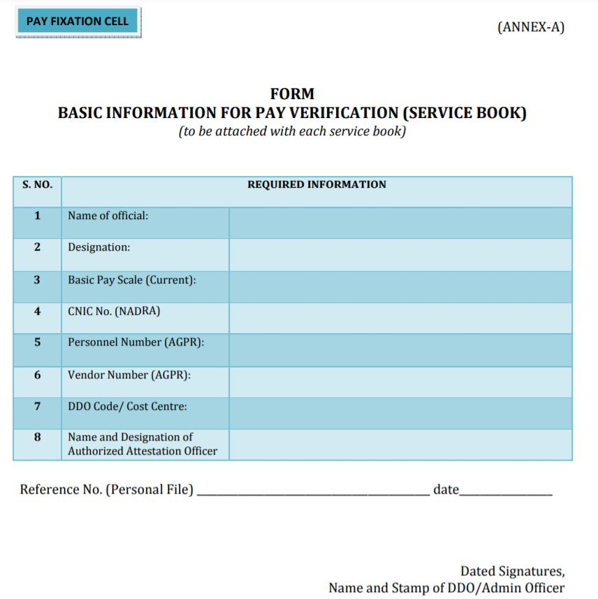 Service Book - Basic Information for Pay Verification Form (Pay Fixation Cell) - allpaknotifications.com