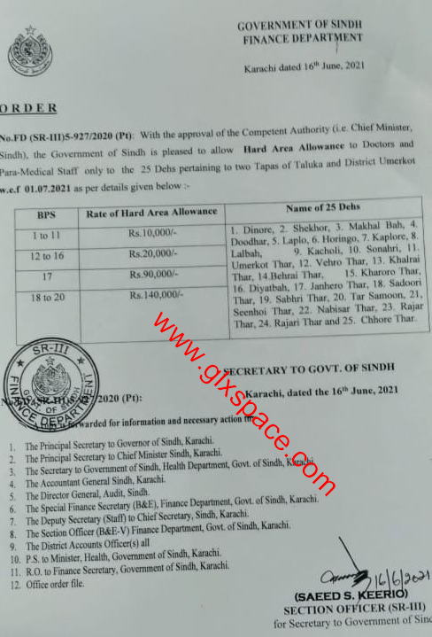 Order | Hard Area Allowance to Doctors and Para-Medical Staff District Umerkot | Government of Sindh Finance Department | June 16, 2021 - allpaknotifications.com