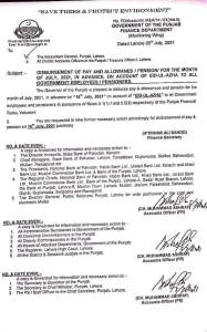 Disbursement of Pay and Allowances / Pension for the Month of July 2021, in Advance, on Account of Eid-Ul-Azha to All Government Employees / Pensioners | Government of the Punjab Finance Department (Monitoring Wing) | July 05, 2021 - allpaknotifications.com