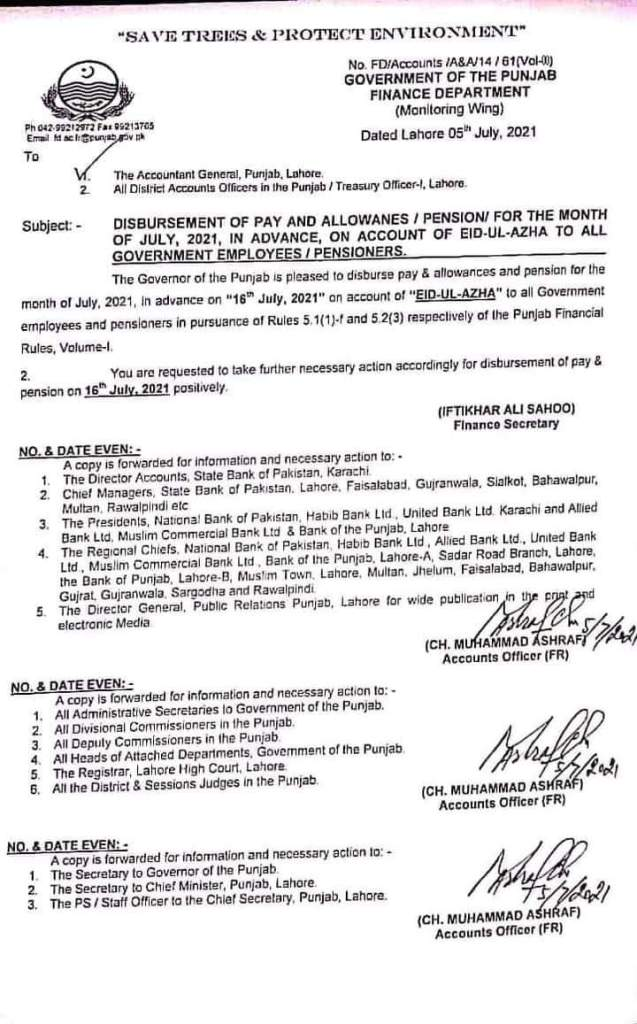 Disbursement of Pay and Allowances / Pension for the Month of July 2021, in Advance, on Account of Eid-Ul-Azha to All Government Employees / Pensioners   Government of the Punjab Finance Department (Monitoring Wing)   July 05, 2021 - allpaknotifications.com