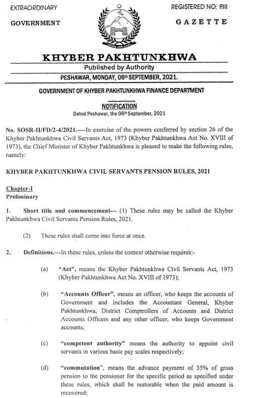 Notification | Khyber Pakhtunkhwa Civil Servants Rules 2021 | Government of Khyber Pakhtunkhwa Finance Department | September 06, 2021