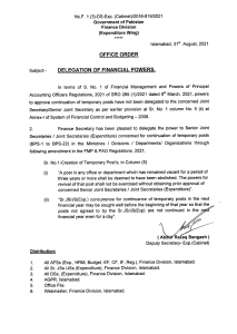 Office Order | Delegation of Financial Powers of Abolishing of Posts Remained Vacant for Three Years | Government of Pakistan Finance Division (Expenditure Wing) | August 31, 2021 - allpaknotifications.com