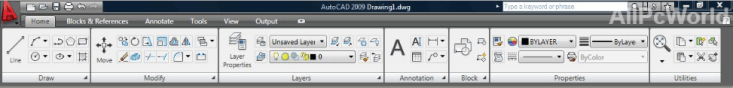 Autodesk AutoCAD 2009 Ribbon