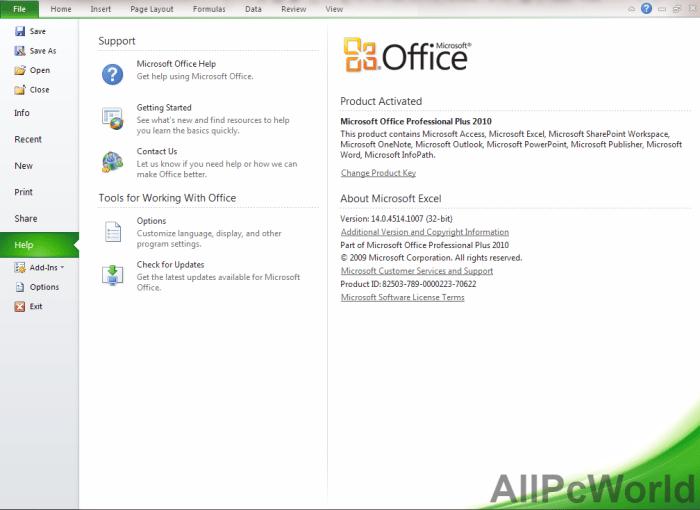 Microsoft Office 2010 Help