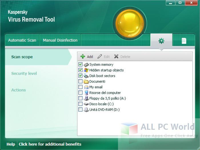 Kaspersky Virus Removal Tool User Interface