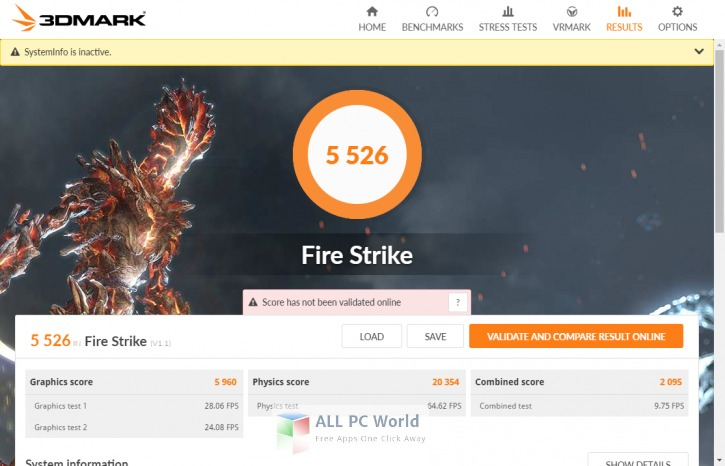 3DMark 2.2.3509 User Interface