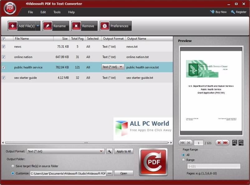 4Videosoft PDF to Text Converter 3.2 User Interface
