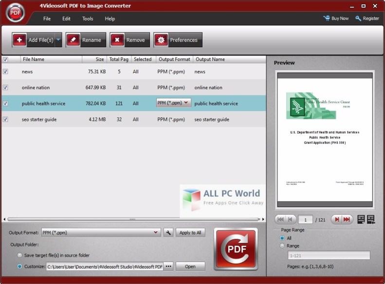 4Videosoft PDF to Image Converter User Interface
