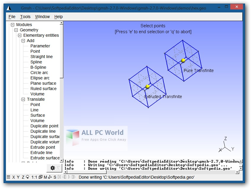 Gmsh 2.15.0 User Interface