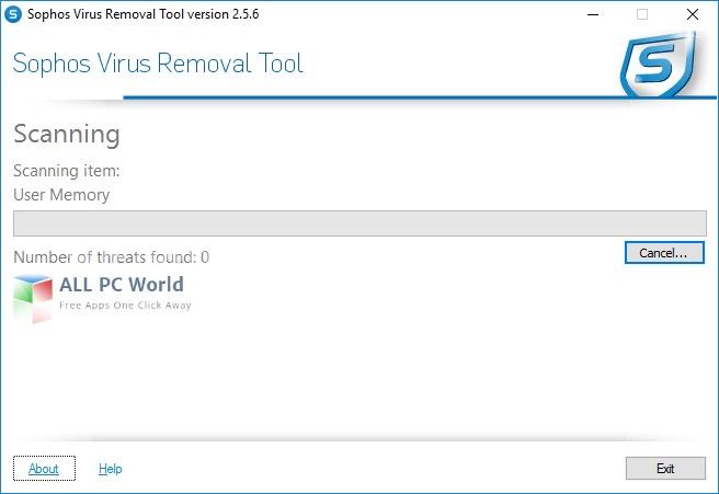 Sophos Virus Removal Tool 2.5.6 User Interface