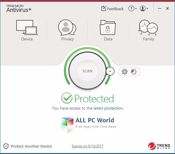Trend Micro Antivirus+ 2017 User Interface