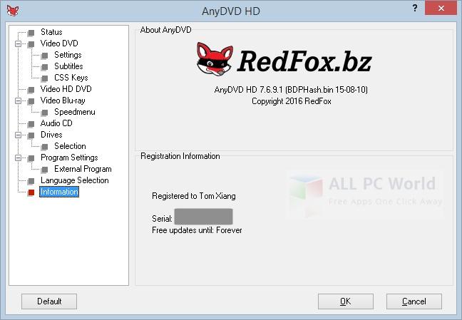 RedFox AnyDVD HD v8.0.5.0 2016 Review