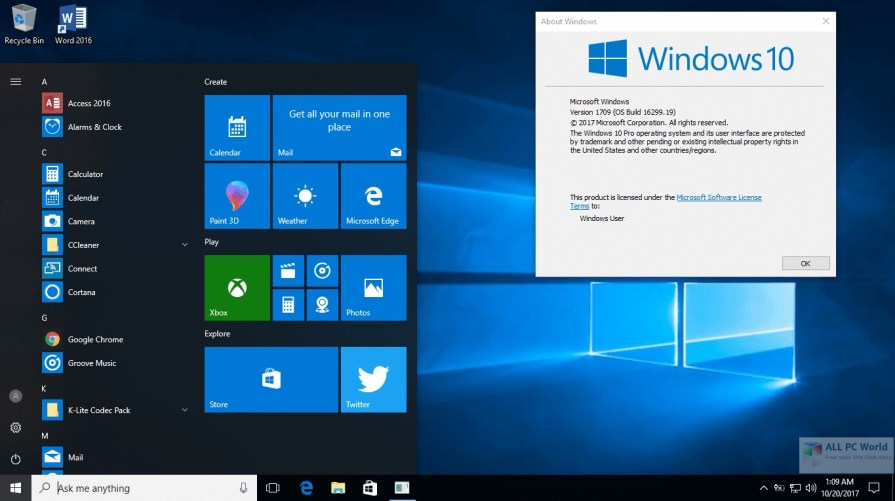 Windows 10 AIO RS3 v1709 16299.19 Review