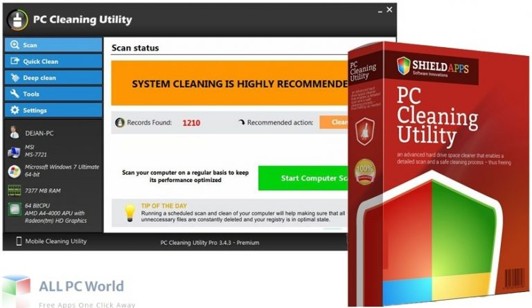 PC Cleaning Utility Pro for Free Download allpcworld