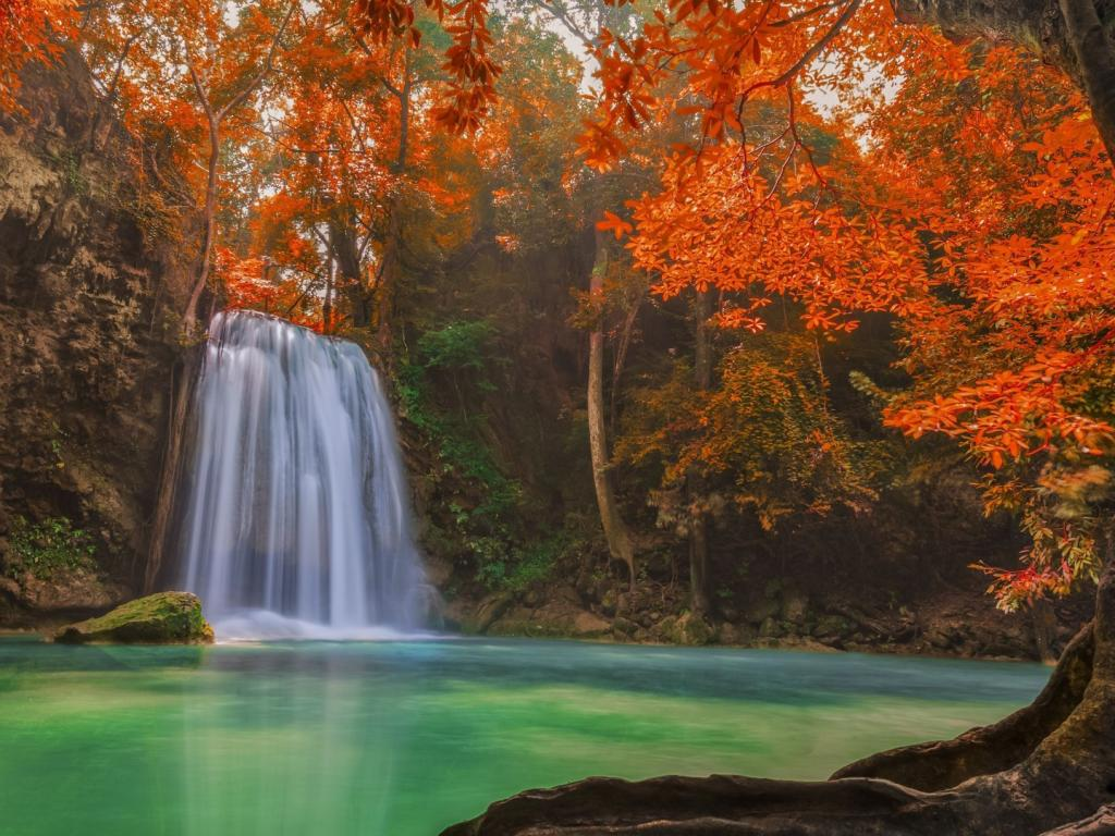 Free Fall Wallpaper Downloads Hd Picture Of Nature With Waterfall On Autumn Forest Hd