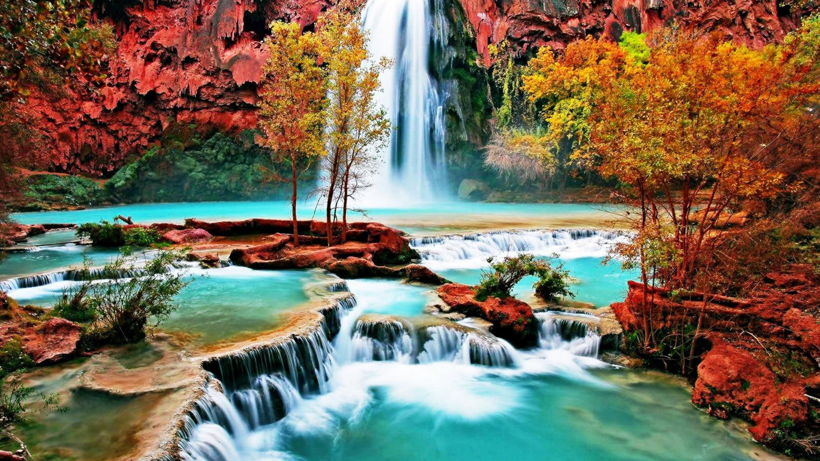 Bing Hd Wallpaper Fall Beautiful Nature Wallpaper With Waterfall In Autumn Forest
