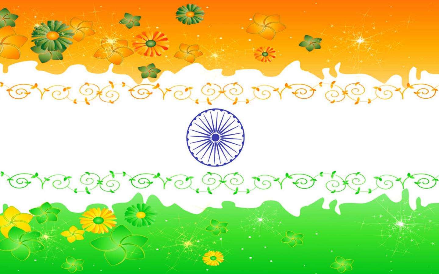 Indian Flag Animation Wallpaper India Flag With Floral Ornaments In Three Colors Hd