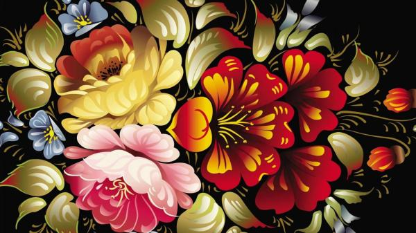 Abstract Art Desktop Wallpaper With Colorful Flower In 3d