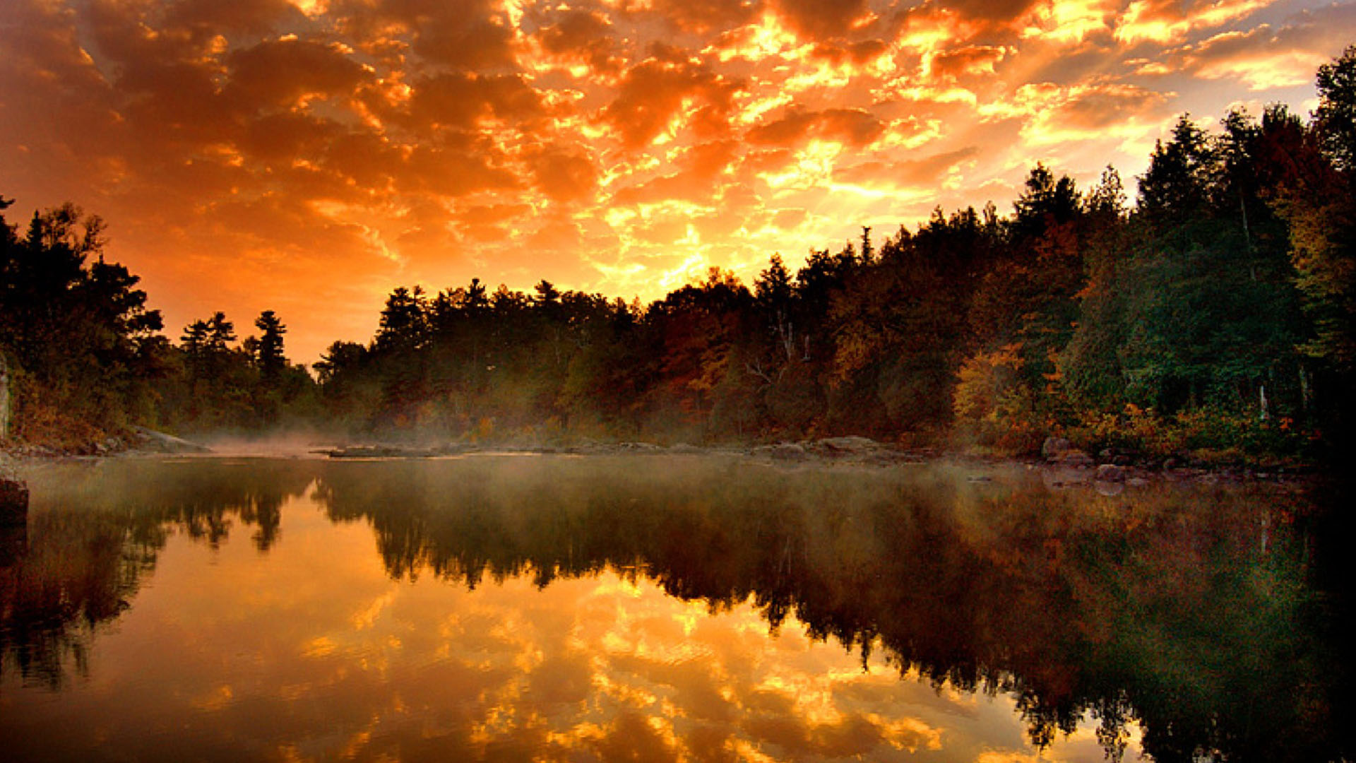 Fall Morning Sun Wallpaper Full Hd Nature Wallpaper 1080p For Desktop With River And