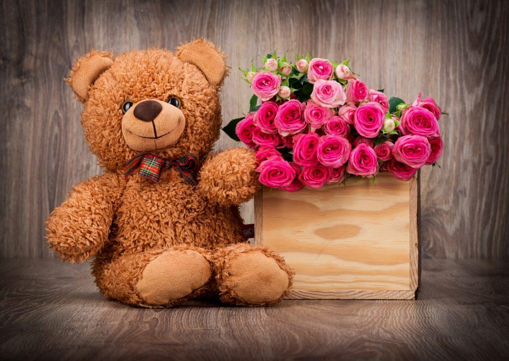 Cute Pink Teddy Bear Wallpapers For Desktop Cute Teddy Bear Wallpaper With Pink Roses In Box Hd