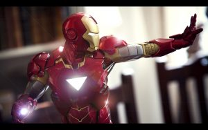 Cool Wallpaper of Iron Man in Close Up Wearing New Suit and Weapon