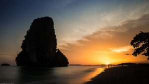 Long exposure photo of sunset in Phra Nang beach in Thailand