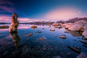 Evening Sunset Over Lake Tekapo New Zealand for Dramatic Wallpaper
