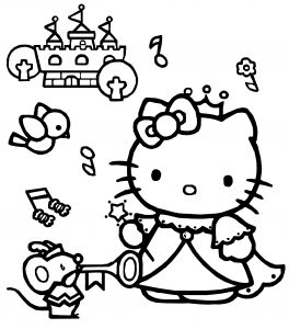 Hello Kitty Coloring Pages 06 of 15 - Princess with Accessories