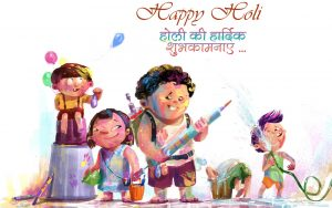 Happy Holi Image 2018 for Desktop Background - Children Playing Water Gun