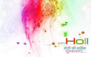 Happy Holi Image with Wishes in Hindi Text for wallpaper