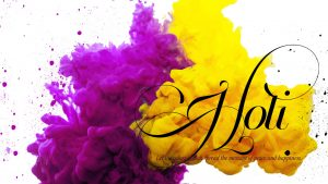 HD Holi Wallpaper with Yellow and Purple Color in 1920x1080