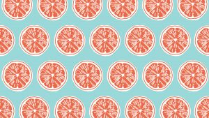 Coral Colored Wallpaper with Slice in Blue Background