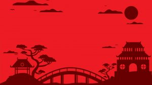 Red Chinese Wallpaper Designs 03 of 20 with Chinese Temple Silhouette