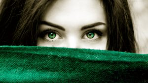 Beautiful Girl Close Up Photo with Green Eyes